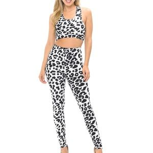 NWT Soft Spotted Leopard Bra and Leggings Set